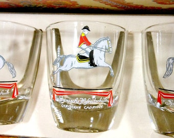 Vintage Shot Glasses | Set of Six | Horses White Stallions | Drink Barware | Original Box | Small Glassware | Equestrian Riding School |