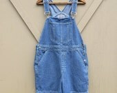 90s vintage Bill Blass Faded Dark Blue Denim Short Bib Overalls