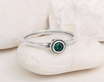 Stackable Birthstone Ring for Mom or Grandma, Sterling Stack Birthstone Ring. Represent each child with a stone to create a Mother's Ring!
