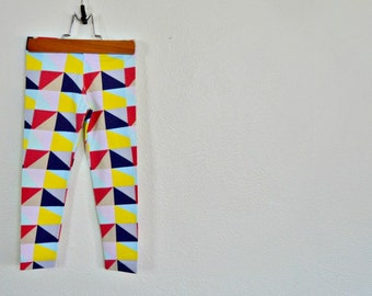 Children's Modern Geometric Rainbow Leggings. 12mths-8 years