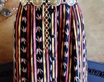 Floral Skirt, Gypsy skirt, Autumn skirt, Hippie skirt, Rayon skirt, 80s skirt, size M