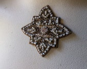Beaded Applique Exquisite in Blush, Black & Gold No for Bridal, Sashes, Pendants, Handbags, Costumes, Jewelry, Home Decor.