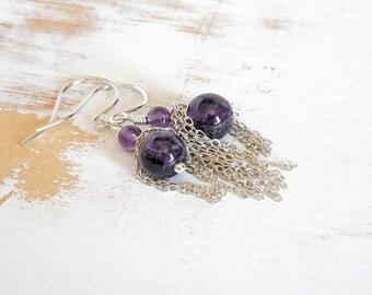 Amethyst Drop Earrings, Boho Chic Jewelry, Silver Dangle Earrings, Earrings with Chain, Fringe Earrings, Handmade Silver Jewellery