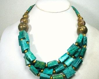 Multistrand Chunky Green Bead Necklace, 1970s, Dyed Bone and Brass Boho Beads