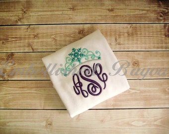 Monogram with Snowflake Ice Princess Crown T-shirt or Onesie Bodysuit for Girls Personalized