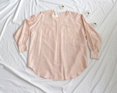 The Miss Mary Mack   Vintage Blush Pink Silk Blouse   Vintage Silk Button Down Tunic   XL Plus
