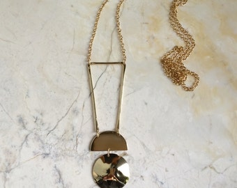 Pedulum Necklace. Long Gold Necklace. Brass Statement Necklace. Gold Fill and Brass. Brass Dome. Brass Circle Necklace. Half Circle. Modern.