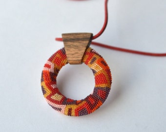 OOAK Mandala beaded Pendant red by DONAULUFT
