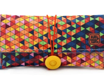 Button Clutch - Colourful geometric triangles fabric