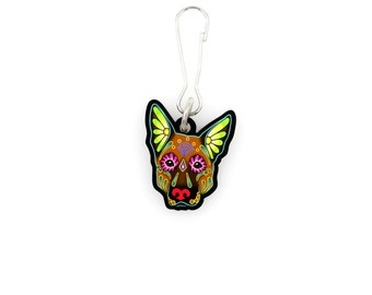 SALE Regularly 7.95 -  German Shepherd in Brown - Collar Charm / Key Chain / Zipper Pull - Day of the Dead Sugar Skull Dog
