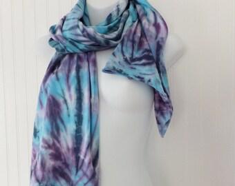 Tie Dye Scarf in Blue Skies and Purple Haze