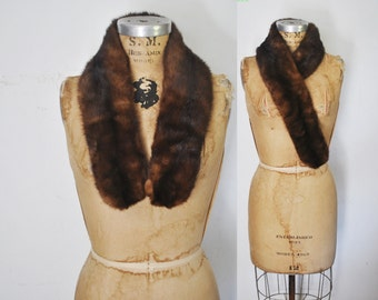 Brown Mink Fur Collar Scarf / clips