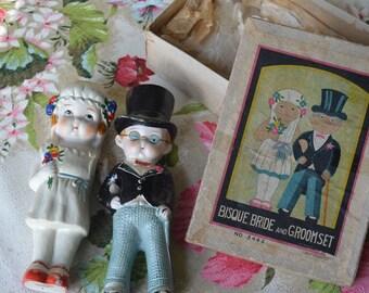 Vintage Bisque Bride and Groom Dolls Original Box Japan