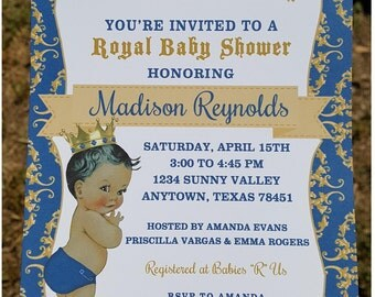 Custom Printed African American Vintage Antique Royal Prince Baby Shower Invitations -  1.00 each with envelope