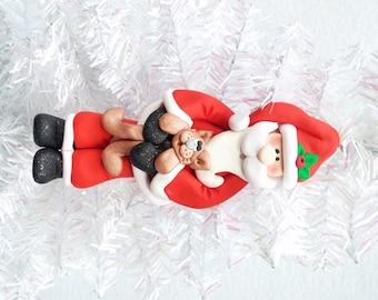 Santa with Cat Christmas Ornament - Pet Sitter Gift - Cat Lover Gift - Cat Owner Gift - Cat Owner Ornament - Santa Collector - 812