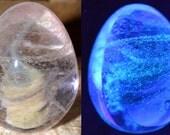 Glow in the Dark Blacklight Egg with Amber Purple Swirl - Handblown Glass