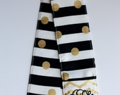 Camera Strap Cover with lens cap pocket and padding included - Monogrammed Stripes/ Gold Chevron