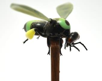 Flying Green Bumblebee on Pedestal - lampworked lifelike glass bee figurine made by Glass Artist Wesley Fleming