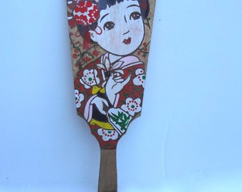 Vintage  Hagoita Hanetsuki Wood Paddle Japanese Some Wear Spots Light Stains Lady With Flower