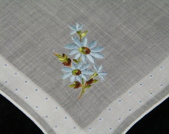 Vintage 1950's Embroidered Blue Daisy Floral Wedding Handkerchief, Hankie, Hanky, 9767