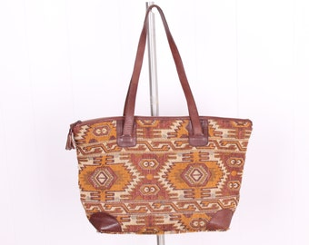 vintage wool IKAT  + leather tote purse large market bag ethnic tapestry boho bohemian large size