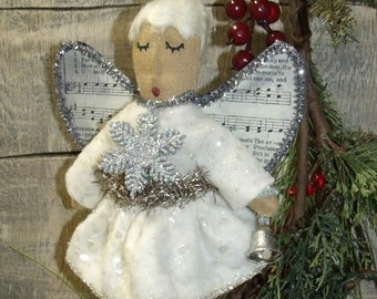 OH BELLA ANGEL Ornament/My Primitive saltbox/vintage style ornies collection/Christmas pattern/Instant Download/Primitive Pattern