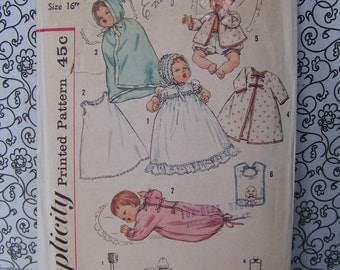 "Vintage Baby Doll Clothes Sewing Pattern for 16"" Dolls"
