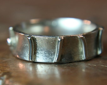 Recycled sterling silver ring. Hand made in the UK. Size K 1/2