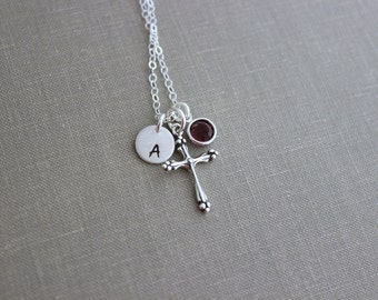 Personalized Charm Necklace with Sterling Silver Cross, Swarovski Crystal Birthstone and Initial Charm Made to Order