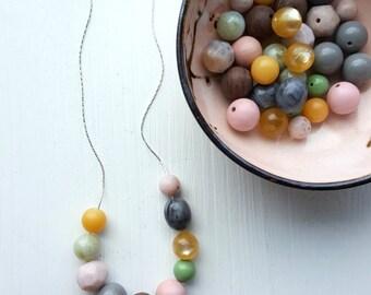 tea and honey necklace - vintage lucite - pastel necklace - light colors