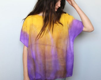 psychedelic afternoon -- vintage handpainted art to wear top S/M/L