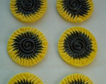 6B - Stamped BUMBLEBEE SUNS - Ceramic Mosaic Tiles