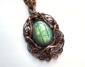 Labradorite and Copper Pendant - Blue-Green - Mysterious Forest