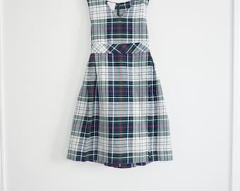 Vintage White and Navy Plaid Girl's Dress
