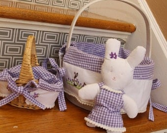 Mini Girlie Bunny and tiny Easter basket in purple gingham-both items hand embroidered