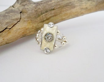 Crystal Stretch Ring, April Birthstone Ring, Swarovski Crystals, Silver Ring, Stretch Band Ring, Elastic Ring, Gift for Her, Dainty Jewelry