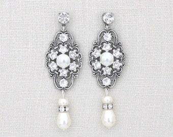 Bridal earrings, Pearl wedding earrings, Wedding jewelry, Vintage style earrings, Antique silver earrings, Swarovski crystals earrings