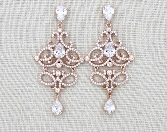 Rose Gold Bridal earrings, Rose Gold Chandelier earrings, Crystal Wedding earrings, Wedding jewelry, Rhinestone earrings, Vintage style