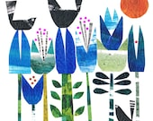 Blackbirds balanced on bluebells limited edition A3 giclee print by Jane Ormes