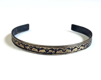 Etched Brass Cuff Bats Bracelet