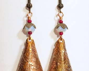Etched Copper Cone Earrings