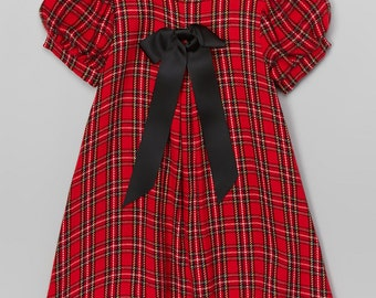 Aline front pleat red plaid holiday dress