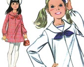 Little Girls' Sailor Dress or Top! Vintage ©1969 McCall's Sewing Pattern 9798, Child's Dress or Top and Pants or Shorts, Size 6