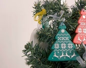 Christmas silver pattern hand painted over laser cut acrylic green tree
