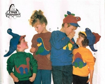 Child Dinosaur Hat Sweatshirt McCalls 3171  Sewing Pattern Child Size 2 3 4 5 6 7 8 9 10 Children Boys Girls Sweat Shirt Top
