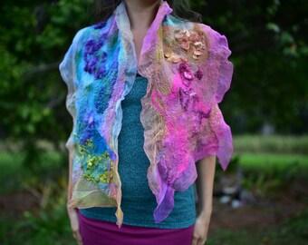 Nuno Felted Rainbow Pixie Fairy Silk Shawl Scarf OOAK