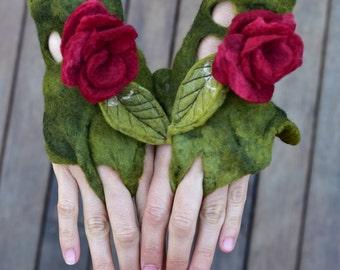 Felt Flower Cuffs-Leaf Fairy Wrist Cuffs-Pixie Jewelry-Matching Bracelets-Felt Flower Jewellery-Fairy Costume-Festival WearOOAK