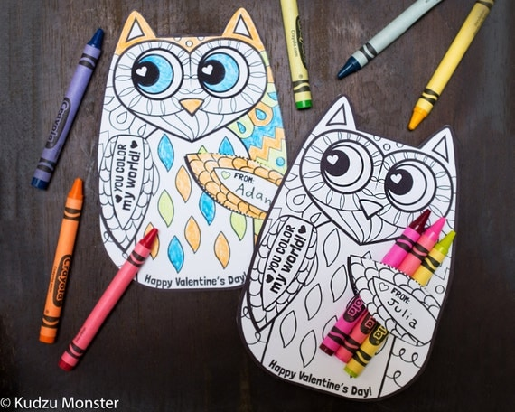 Owl Coloring Page Valentine with crayon holder. Cute unique