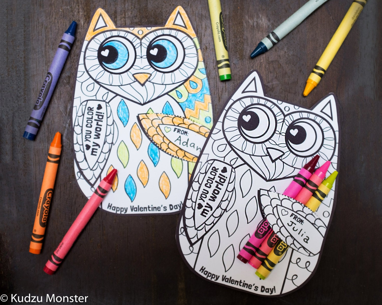 Printable coloring pages woodland animals - Owl Coloring Page Valentine With Crayon Holder Cute Unique Owl Woodland Printable Diy Valentines Crayons Cards Classroom Activity