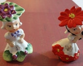 Napco 1950s Flower Girls Salt and Pepper Shakers July and December Poinsettia and Larkspur